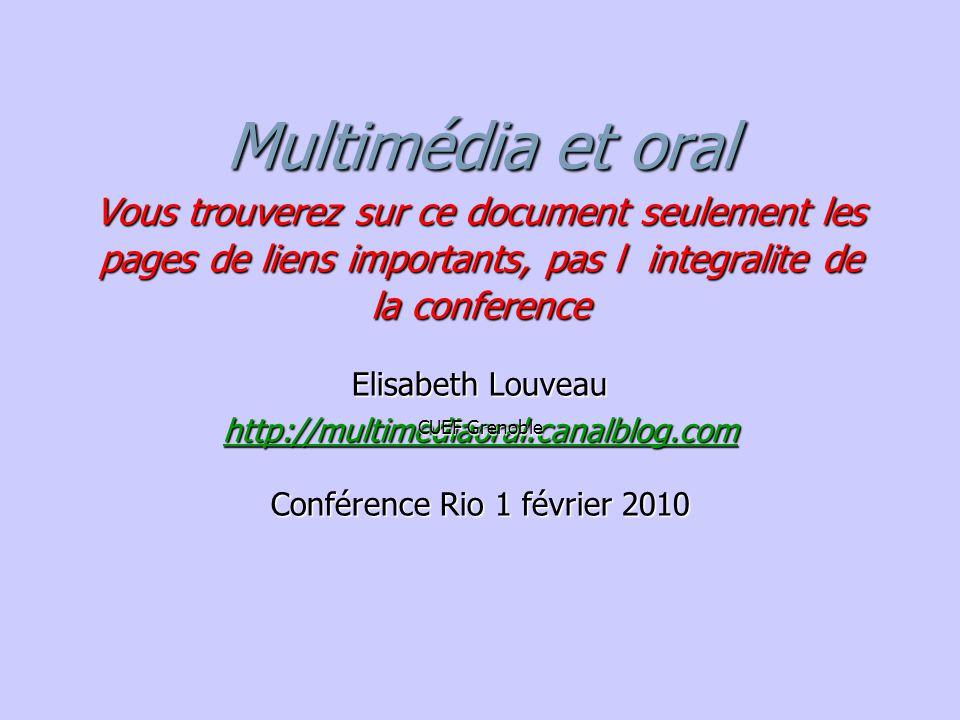Multimédia et oral Vous trouverez sur ce document seulement les pages de liens importants, pas l integralite de la conference http://multimediaoral.ca