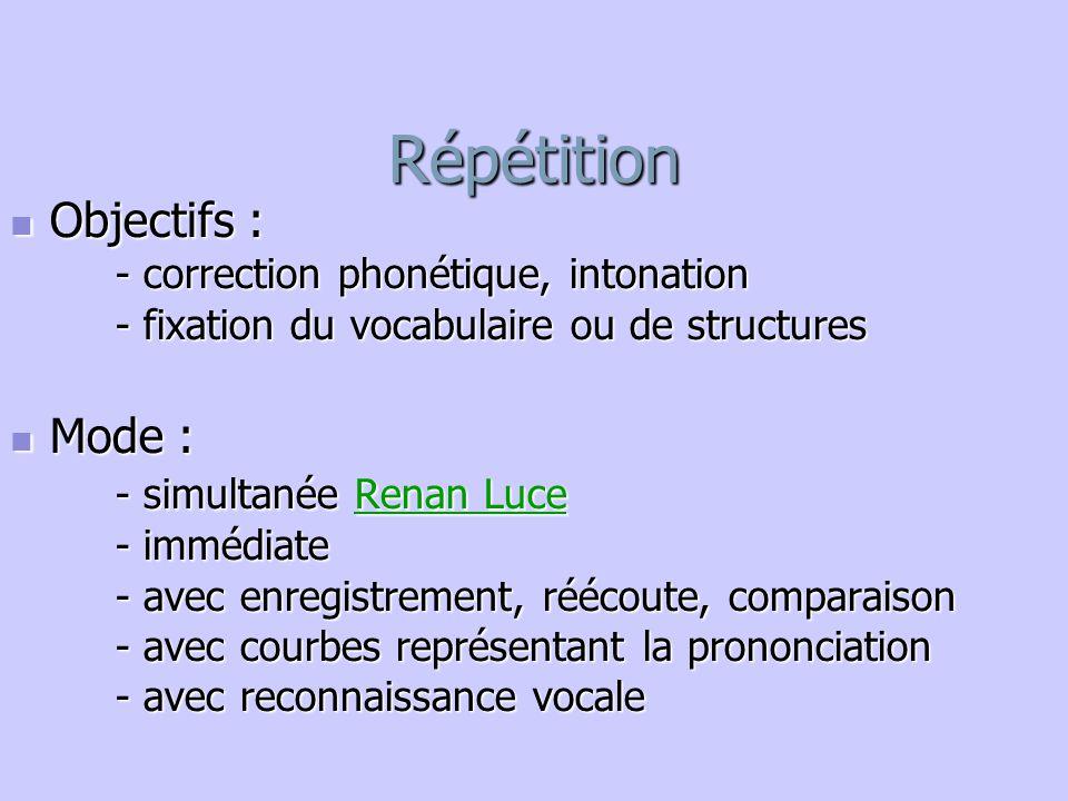 Répétition Objectifs : Objectifs : - correction phonétique, intonation - fixation du vocabulaire ou de structures Mode : Mode : - simultanée Renan Luc
