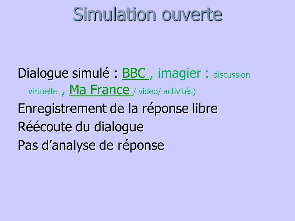 Simulation ouverte Dialogue simulé : Dialogue simulé : BBC, imagier : discussion virtuelle, Ma France / video/ activités)BBC Ma France Enregistrement