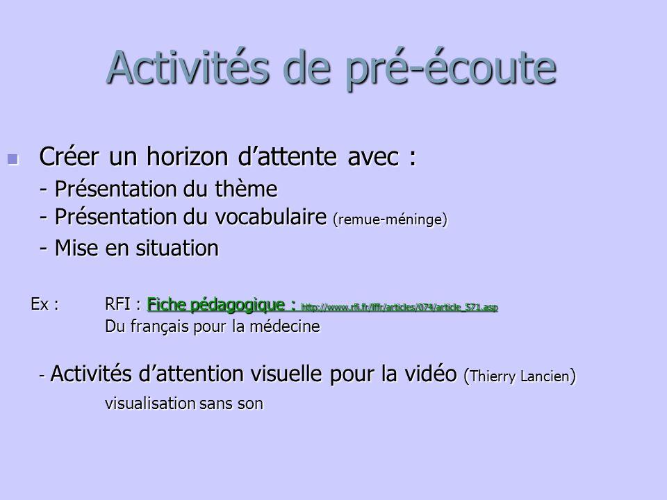 Activités de pré-écoute Créer un horizon d'attente avec : Créer un horizon d'attente avec : - Présentation du thème - Présentation du vocabulaire (rem