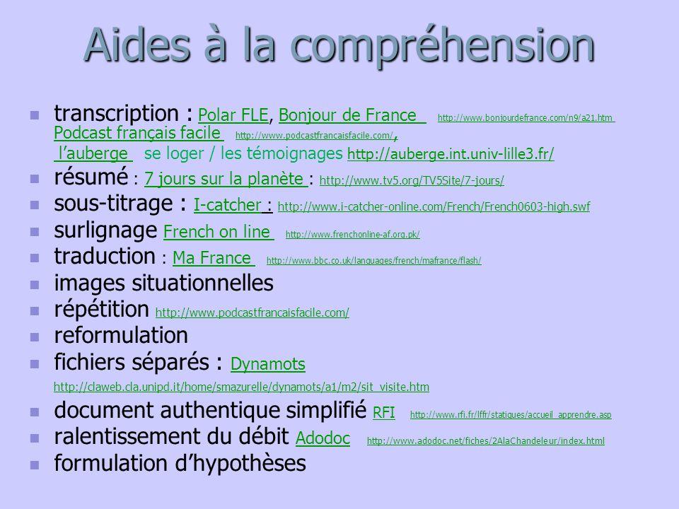 Aides à la compréhension transcription : Polar FLE, Bonjour de France : http://www.bonjourdefrance.com/n9/a21.htm, Podcast français facile : http://ww