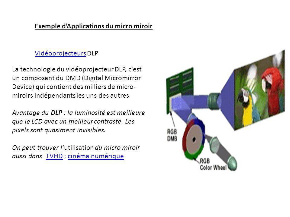 Exemple d'Applications du micro miroir VidéoprojecteursVidéoprojecteurs DLP La technologie du vidéoprojecteur DLP, c est un composant du DMD (Digital Micromirror Device) qui contient des milliers de micro- miroirs indépendants les uns des autres Avantage du DLP : la luminosité est meilleure que le LCD avec un meilleur contraste.