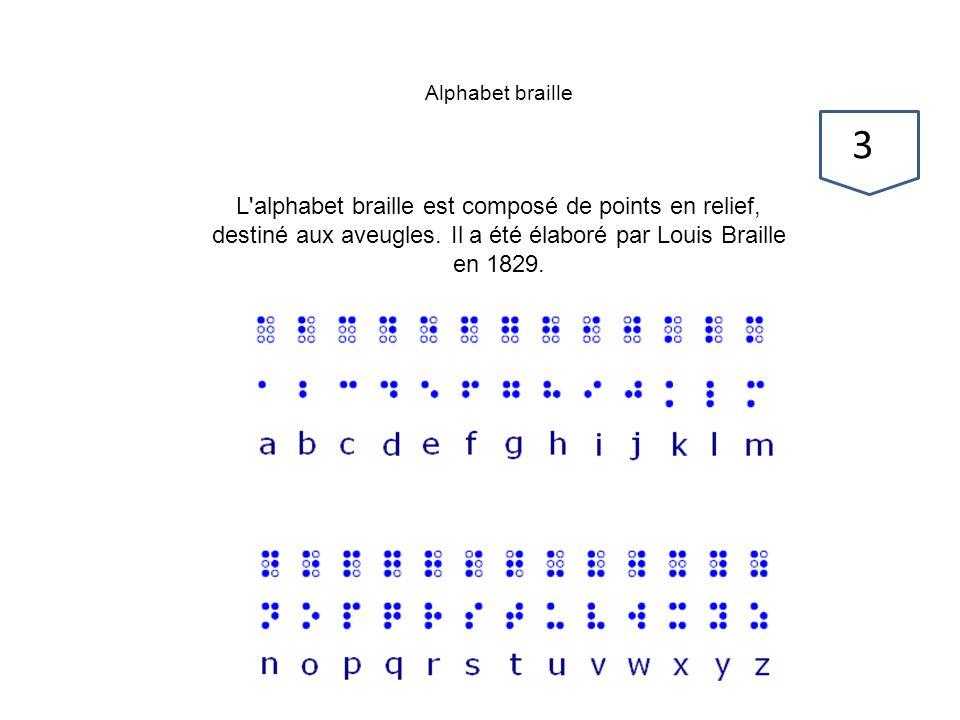 Alphabet braille L'alphabet braille est composé de points en relief, destiné aux aveugles. Il a été élaboré par Louis Braille en 1829. 3737