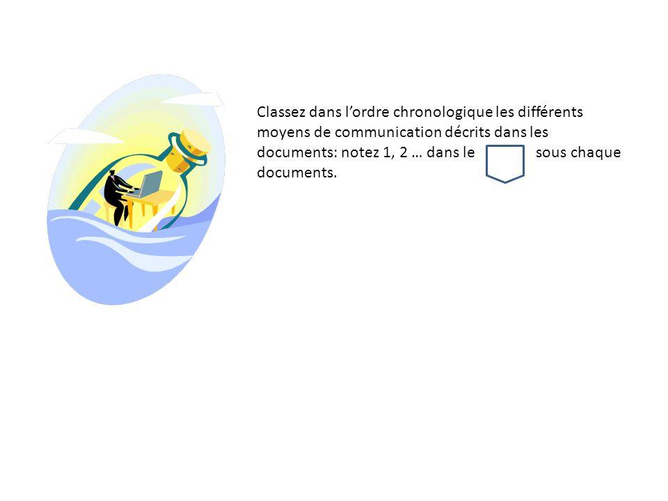 Classez dans l'ordre chronologique les différents moyens de communication décrits dans les documents: notez 1, 2 … dans le sous chaque documents.