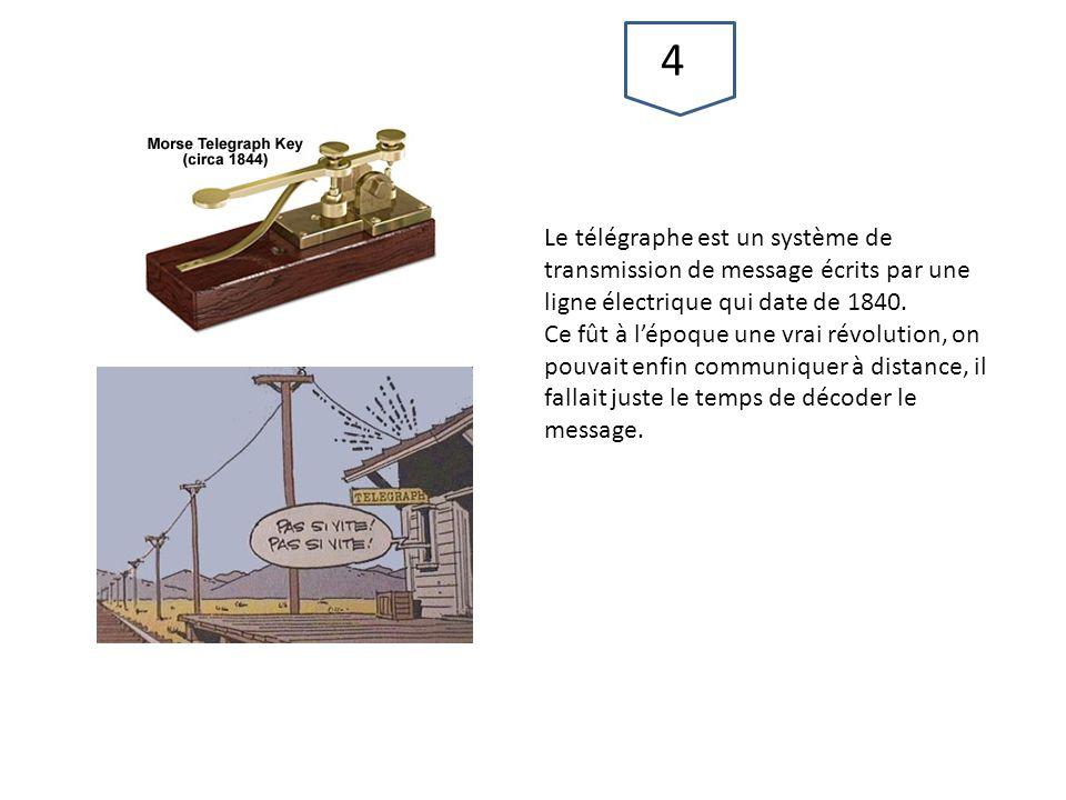 Le télégraphe est un système de transmission de message écrits par une ligne électrique qui date de 1840. Ce fût à l'époque une vrai révolution, on po