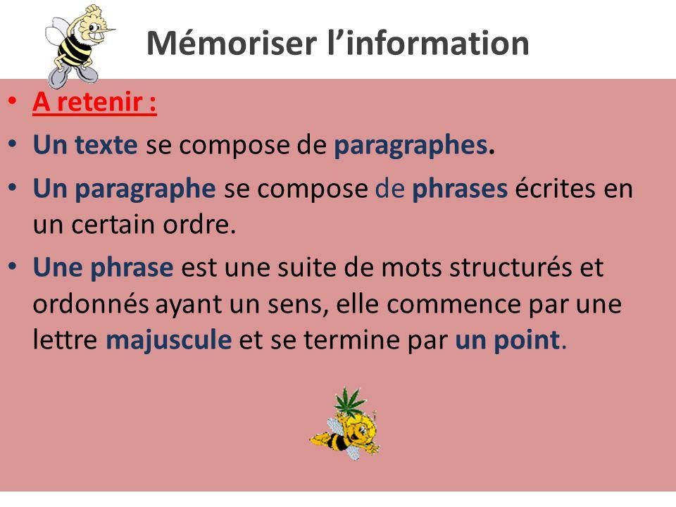 Mémoriser l'information A retenir : Un texte se compose de paragraphes.