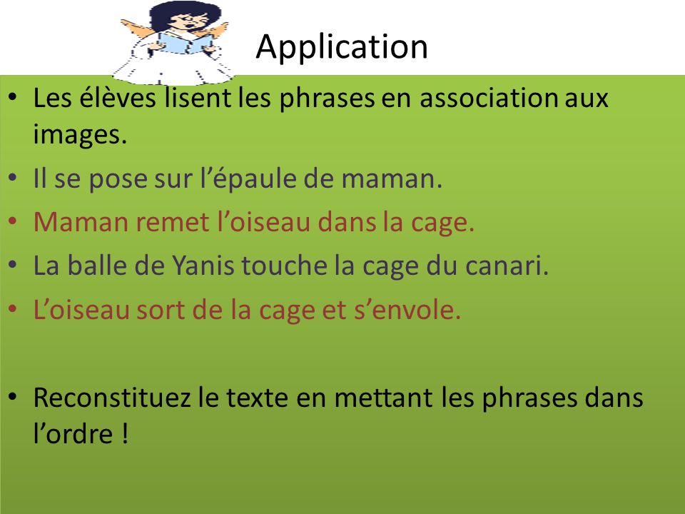 Application Les élèves lisent les phrases en association aux images.