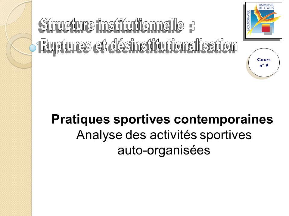 Pratiques sportives contemporaines Analyse des activités sportives auto-organisées Cours n° 9 Cours n° 9