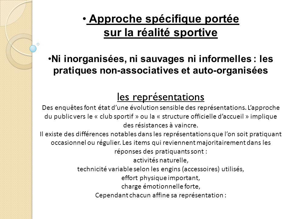 Approche spécifique portée sur la réalité sportive Ni inorganisées, ni sauvages ni informelles : les pratiques non-associatives et auto-organisées les