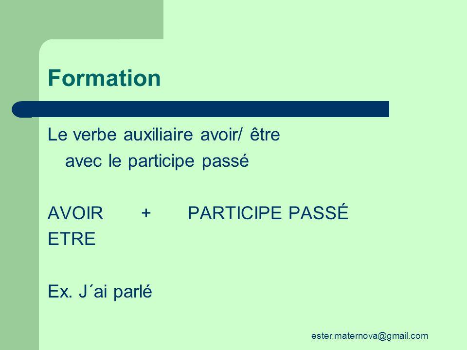 Formation Le verbe auxiliaire avoir/ être avec le participe passé AVOIR+PARTICIPE PASSÉ ETRE Ex.