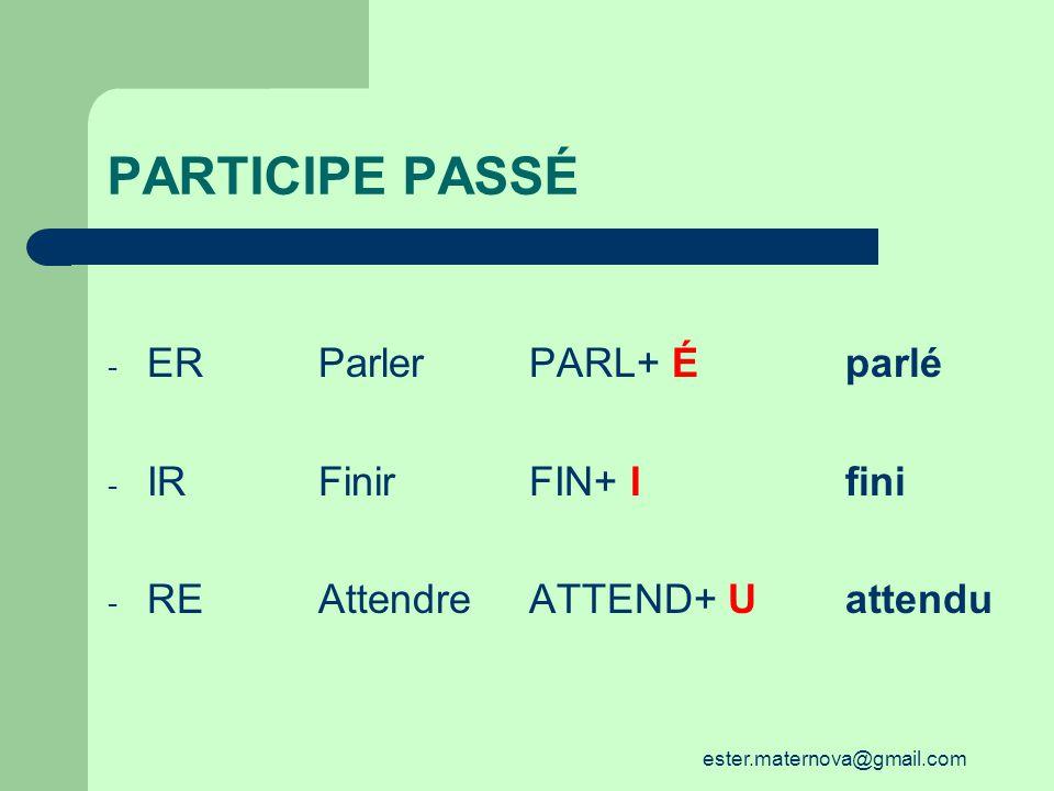PARTICIPE PASSÉ - ER ParlerPARL+ Éparlé - IRFinirFIN+ Ifini - REAttendreATTEND+ Uattendu ester.maternova@gmail.com