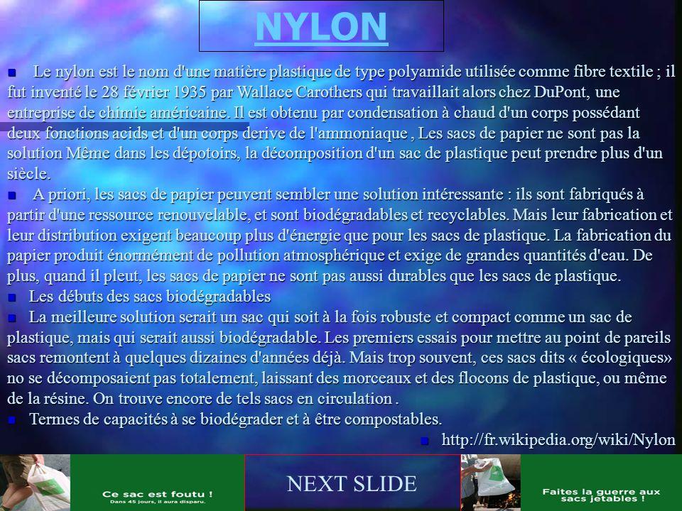 NYLON NEXT SLIDE n Le nylon est le nom d'une matière plastique de type polyamide utilisée comme fibre textile ; il fut inventé le 28 février 1935 par