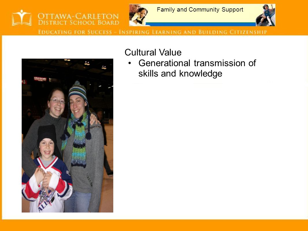 Family and Community Support Cultural Value Generational transmission of skills and knowledge