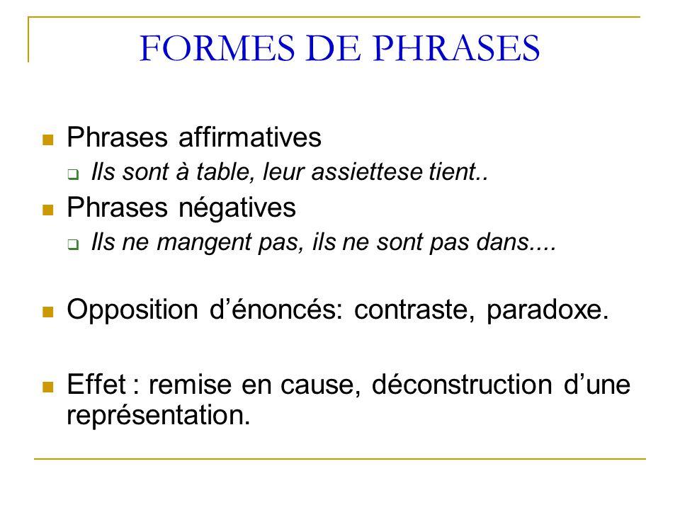 FORMES DE PHRASES Phrases affirmatives  Ils sont à table, leur assiettese tient.. Phrases négatives  Ils ne mangent pas, ils ne sont pas dans.... Op