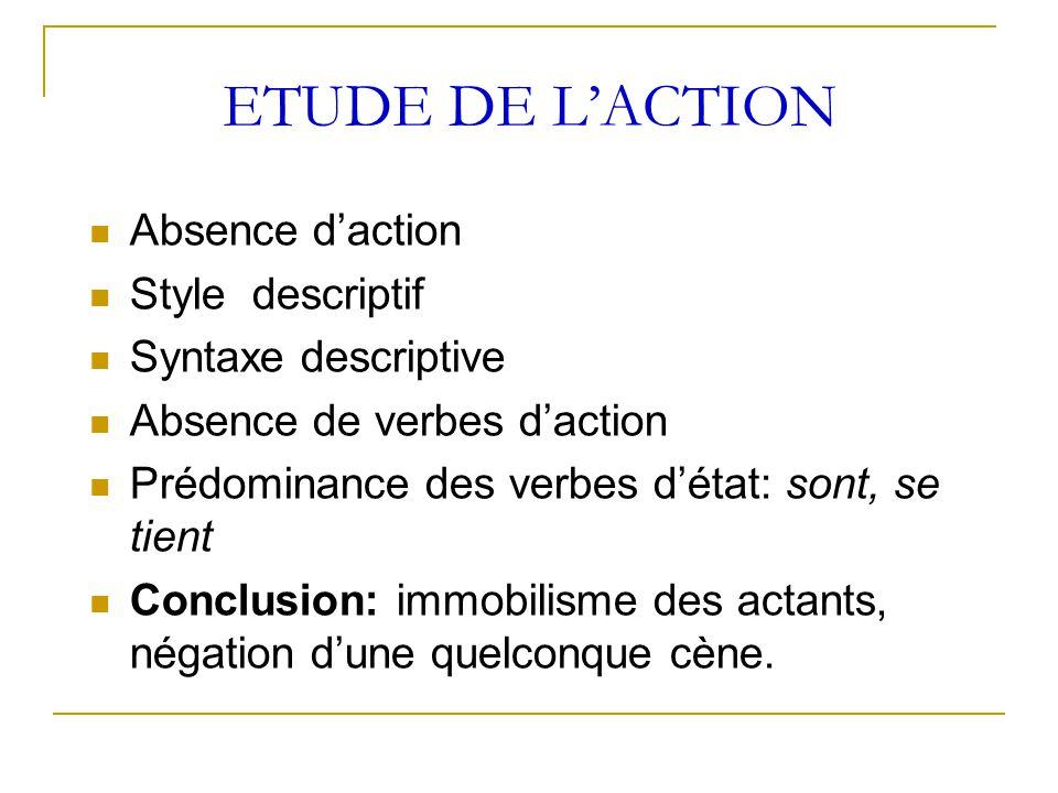 ETUDE DE L'ACTION Absence d'action Style descriptif Syntaxe descriptive Absence de verbes d'action Prédominance des verbes d'état: sont, se tient Conc