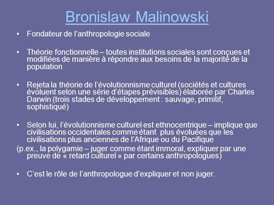Bronislaw Malinowski Fondateur de l'anthropologie sociale Théorie fonctionnelle – toutes institutions sociales sont conçues et modifiées de manière à
