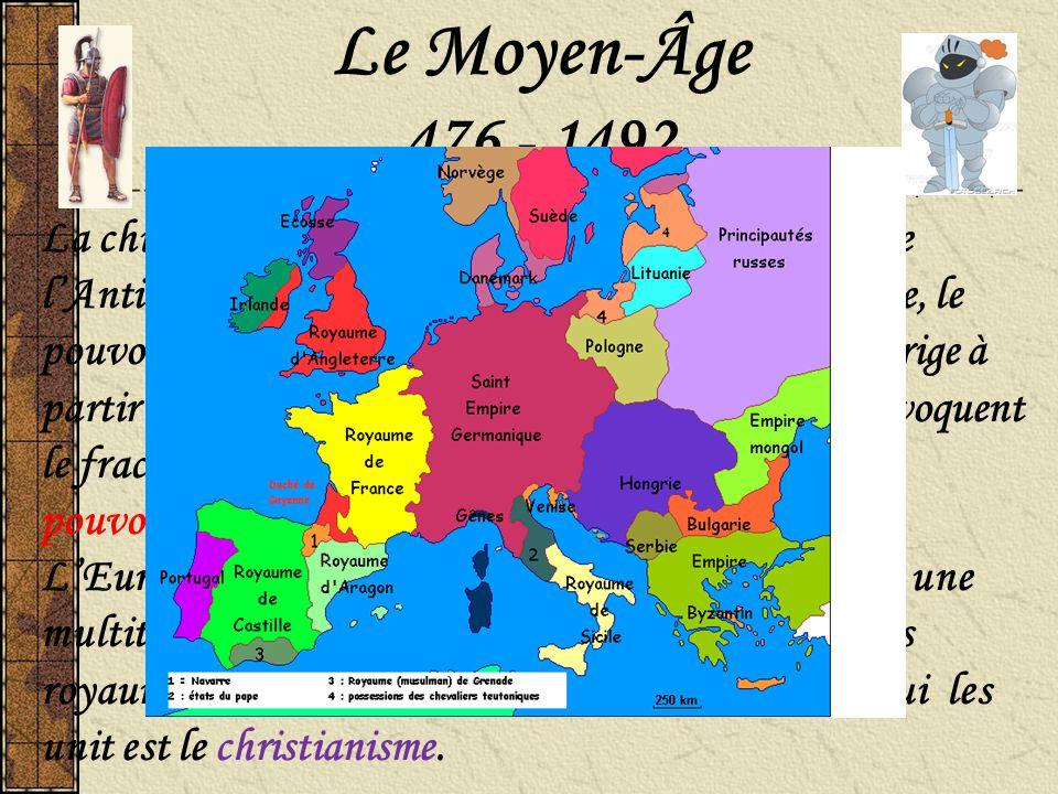 476 - 1492 La chute de l'Empire romain en 476 marque la fin de l'Antiquité et le début du Moyen-Âge. Sous l'Empire, le pouvoir et l'autorité sont cent