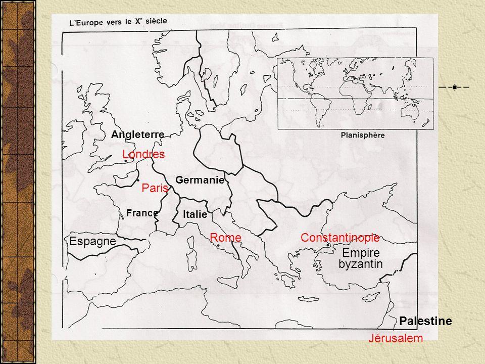 Angleterre France Germanie byzantin Empire Espagne Italie Paris Londres RomeConstantinople Palestine Jérusalem