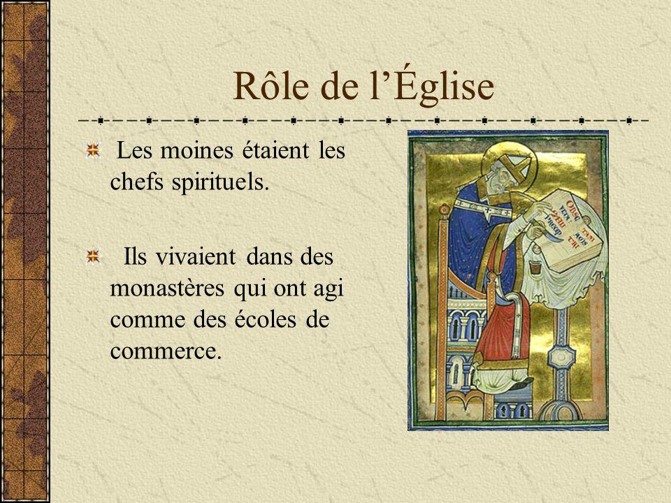 Rôle de l'Église Les moines étaient les chefs spirituels. Ils vivaient dans des monastères qui ont agi comme des écoles de commerce.