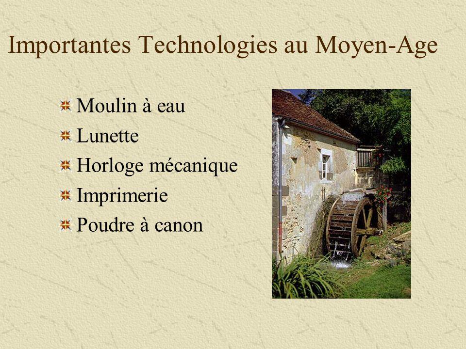 Important Moyen Age Technologies Importantes Technologies au Moyen-Age Moulin à eau Lunette Horloge mécanique Imprimerie Poudre à canon