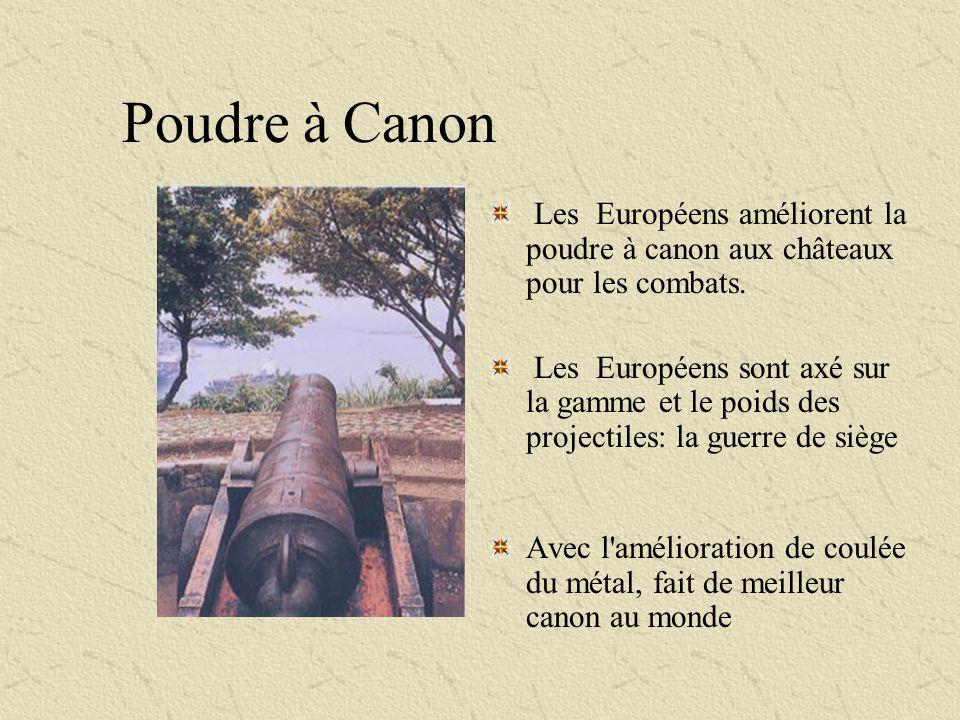 Poudre à Canon Les Européens améliorent la poudre à canon aux châteaux pour les combats. Les Européens sont axé sur la gamme et le poids des projectil
