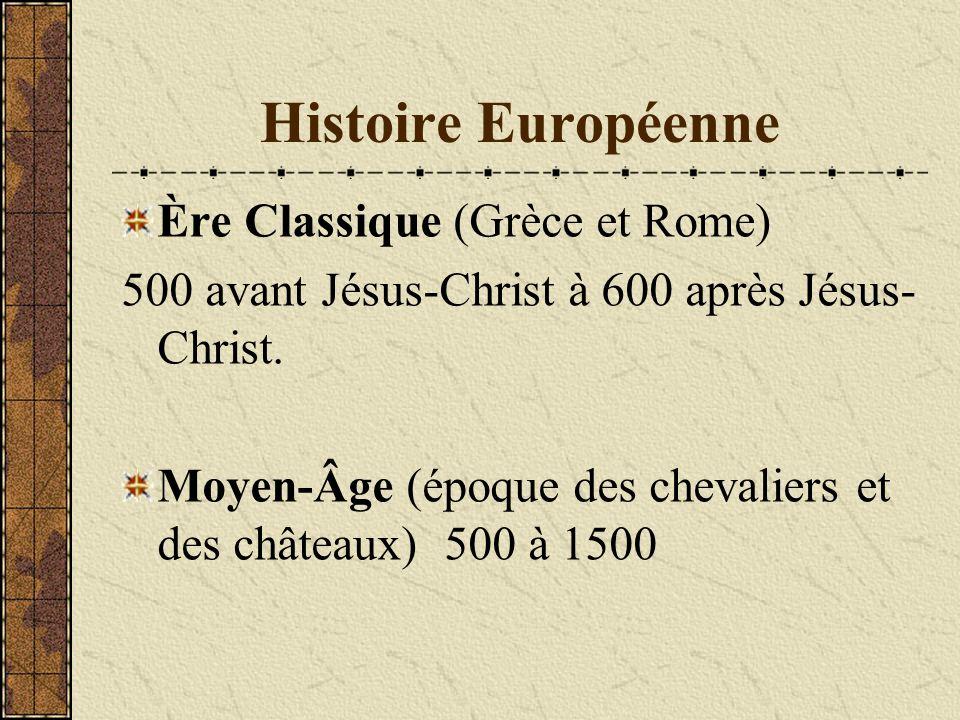 Histoire Européenne Ère Classique (Grèce et Rome) 500 avant Jésus-Christ à 600 après Jésus- Christ. Moyen-Âge (époque des chevaliers et des châteaux)