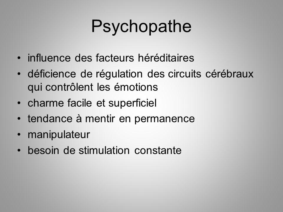 Psychopathe influence des facteurs héréditaires déficience de régulation des circuits cérébraux qui contrôlent les émotions charme facile et superfici