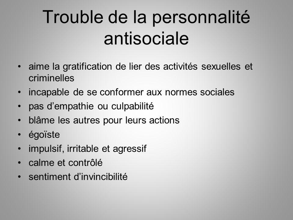 Trouble de la personnalité antisociale aime la gratification de lier des activités sexuelles et criminelles incapable de se conformer aux normes socia