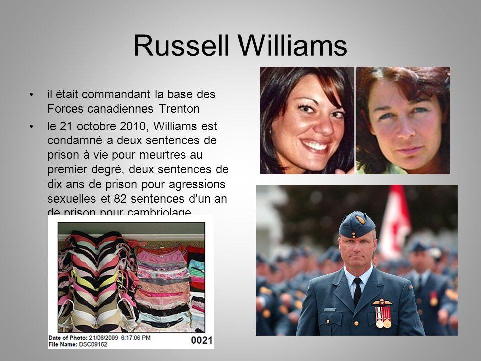 Russell Williams il était commandant la base des Forces canadiennes Trenton le 21 octobre 2010, Williams est condamné a deux sentences de prison à vie