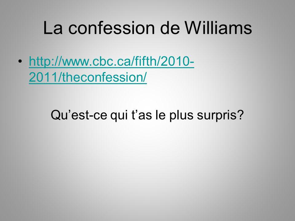 La confession de Williams http://www.cbc.ca/fifth/2010- 2011/theconfession/http://www.cbc.ca/fifth/2010- 2011/theconfession/ Qu'est-ce qui t'as le plu