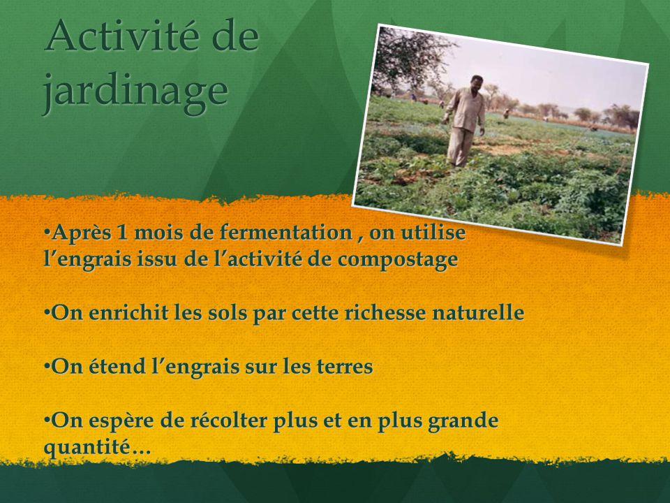 Activité de jardinage Après 1 mois de fermentation, on utilise l'engrais issu de l'activité de compostage Après 1 mois de fermentation, on utilise l'engrais issu de l'activité de compostage On enrichit les sols par cette richesse naturelle On enrichit les sols par cette richesse naturelle On étend l'engrais sur les terres On étend l'engrais sur les terres On espère de récolter plus et en plus grande quantité… On espère de récolter plus et en plus grande quantité…