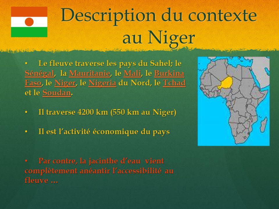 Description du contexte au Niger Le fleuve traverse les pays du Sahel; le Sénégal, la Mauritanie, le Mali, le Burkina Faso, le Niger, le Nigeria du No