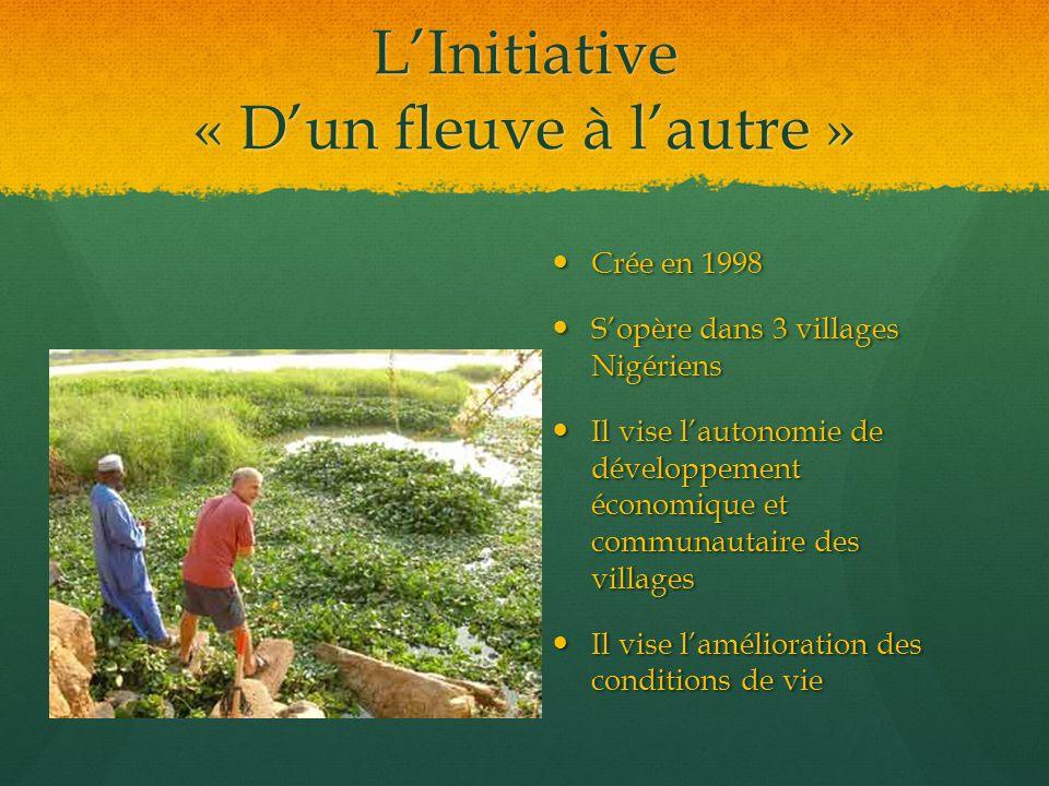 L'Initiative « D'un fleuve à l'autre » Crée en 1998 S'opère dans 3 villages Nigériens Il vise l'autonomie de développement économique et communautaire des villages Il vise l'amélioration des conditions de vie