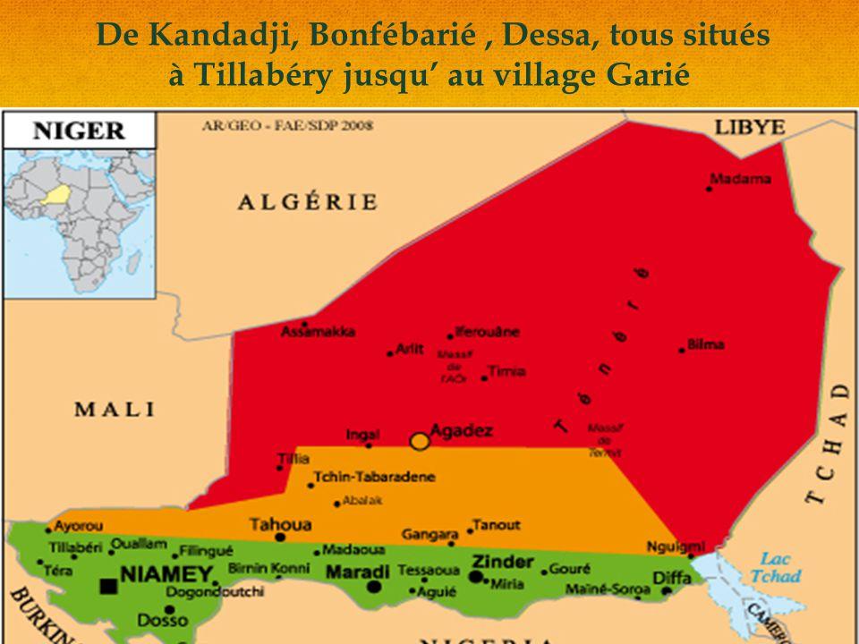 De Kandadji, Bonfébarié, Dessa, tous situés à Tillabéry jusqu' au village Garié