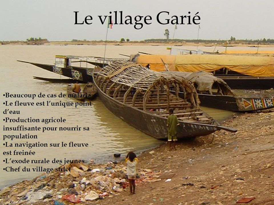 Le village Garié Beaucoup de cas de malaria Le fleuve est l'unique point d'eau Production agricole insuffisante pour nourrir sa population La navigation sur le fleuve est freinée L'exode rurale des jeunes Chef du village strict