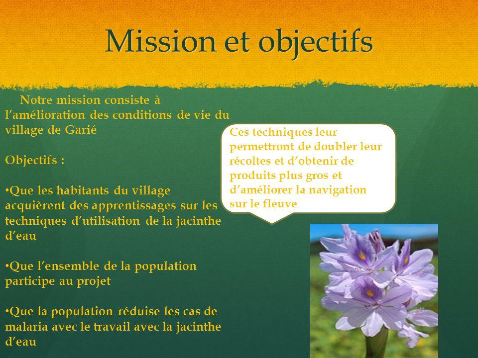 Mission et objectifs Notre mission consiste à l'amélioration des conditions de vie du village de Garié Objectifs : Que les habitants du village acquiè