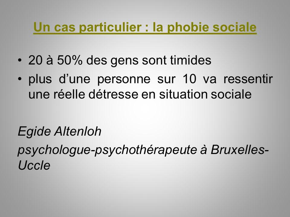 Un cas particulier : la phobie sociale 20 à 50% des gens sont timides plus d'une personne sur 10 va ressentir une réelle détresse en situation sociale