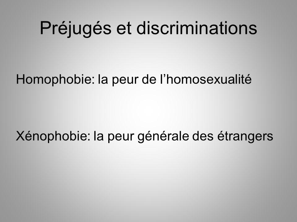 Préjugés et discriminations Homophobie: la peur de l'homosexualité Xénophobie: la peur générale des étrangers