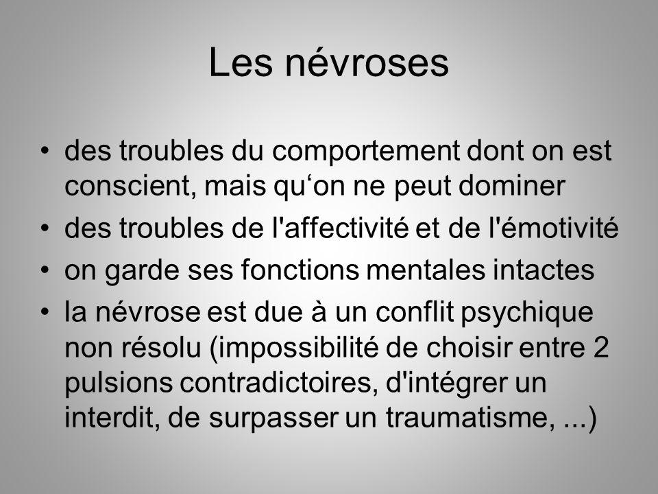 Les névroses des troubles du comportement dont on est conscient, mais qu'on ne peut dominer des troubles de l'affectivité et de l'émotivité on garde s