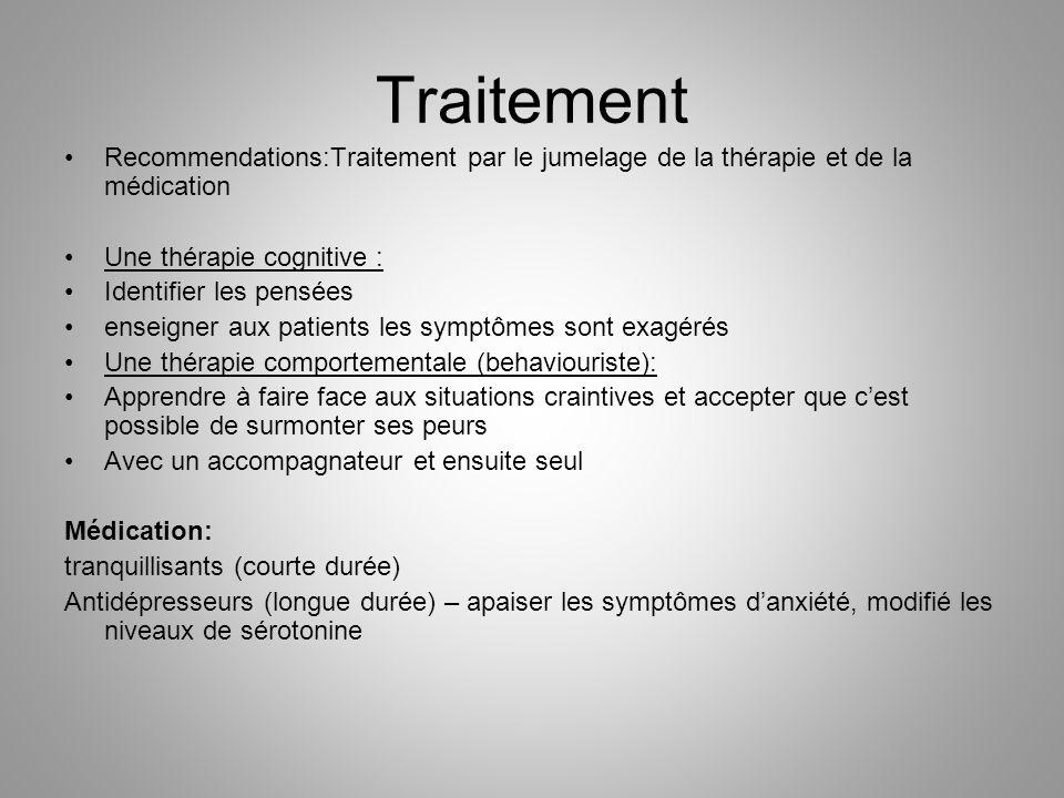 Traitement Recommendations:Traitement par le jumelage de la thérapie et de la médication Une thérapie cognitive : Identifier les pensées enseigner aux