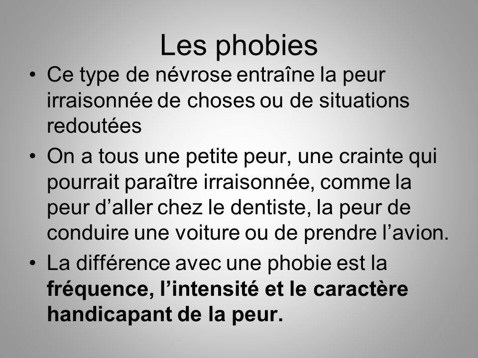 Les phobies Ce type de névrose entraîne la peur irraisonnée de choses ou de situations redoutées On a tous une petite peur, une crainte qui pourrait p