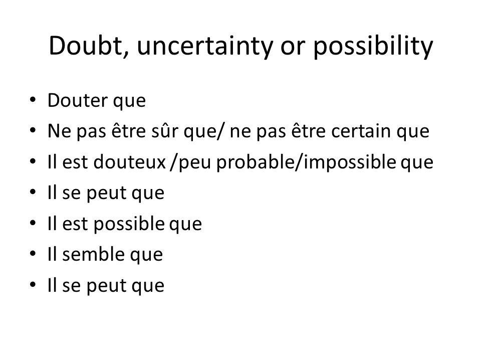 Doubt, uncertainty or possibility Douter que Ne pas être sûr que/ ne pas être certain que Il est douteux /peu probable/impossible que Il se peut que I
