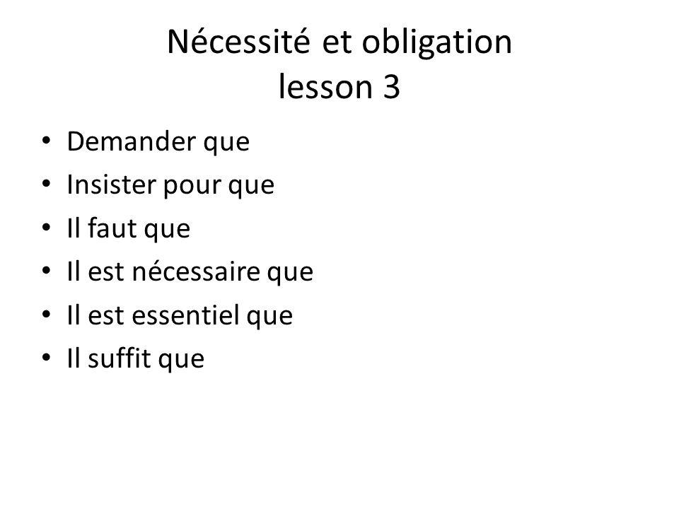 Nécessité et obligation lesson 3 Demander que Insister pour que Il faut que Il est nécessaire que Il est essentiel que Il suffit que