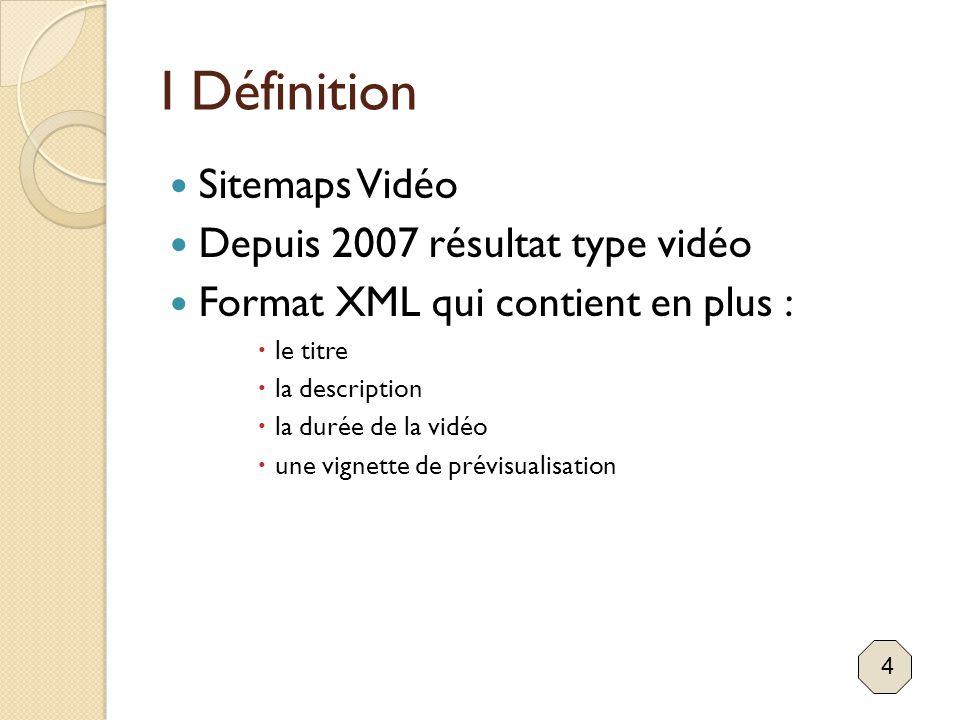 I Définition Sitemaps Vidéo Depuis 2007 résultat type vidéo Format XML qui contient en plus :  le titre  la description  la durée de la vidéo  une