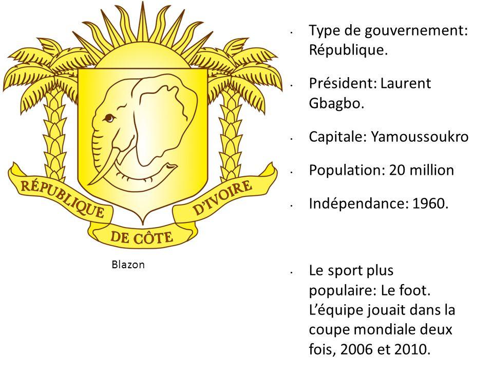 Type de gouvernement: République. Président: Laurent Gbagbo. Capitale: Yamoussoukro Population: 20 million Indépendance: 1960. Le sport plus populaire