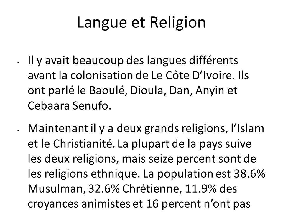 Langue et Religion Il y avait beaucoup des langues différents avant la colonisation de Le Côte D'Ivoire. Ils ont parlé le Baoulé, Dioula, Dan, Anyin e