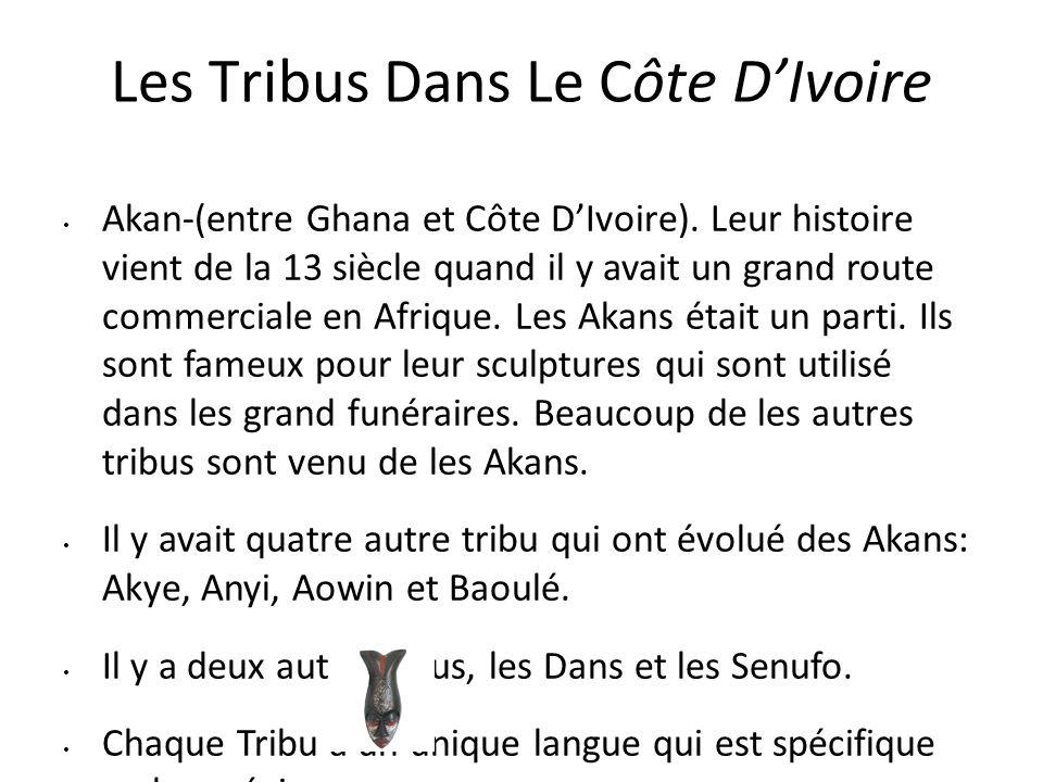 Les Tribus Dans Le Côte D'Ivoire Akan-(entre Ghana et Côte D'Ivoire). Leur histoire vient de la 13 siècle quand il y avait un grand route commerciale