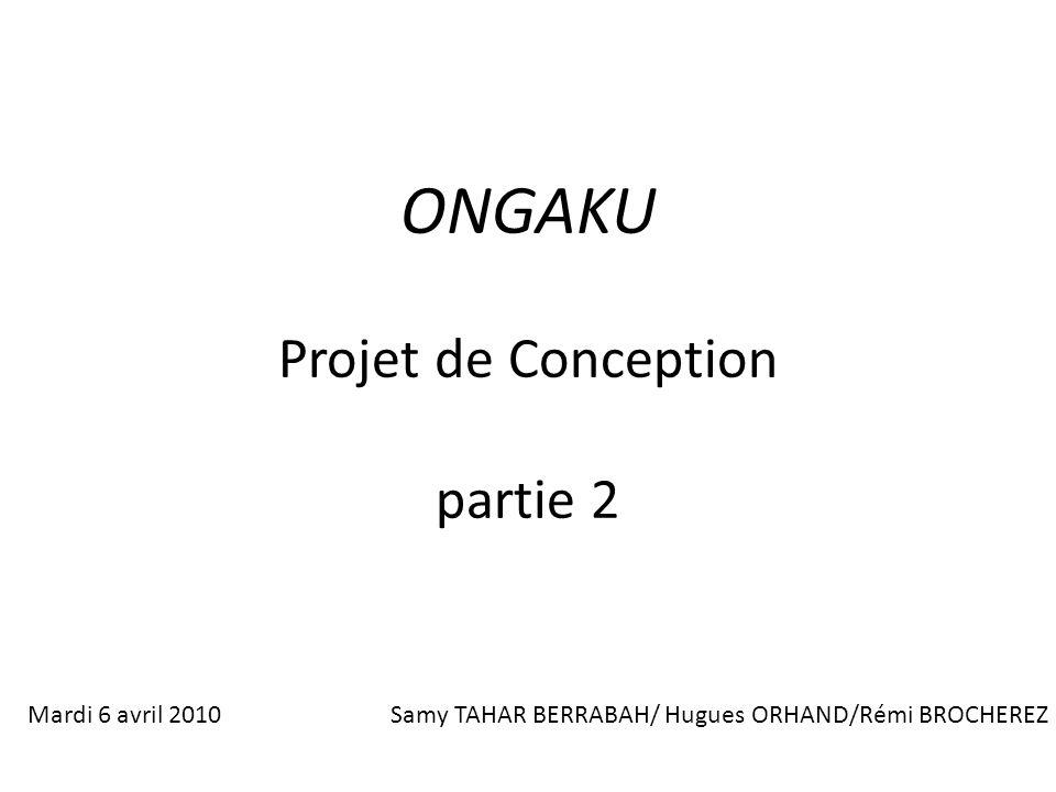 ONGAKU Projet de Conception partie 2 Mardi 6 avril 2010Samy TAHAR BERRABAH/ Hugues ORHAND/Rémi BROCHEREZ
