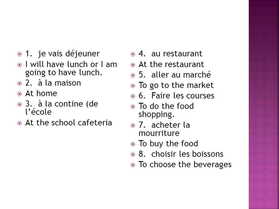  1. je vais déjeuner  I will have lunch or I am going to have lunch.  2. à la maison  At home  3. à la contine (de l'école  At the school cafete