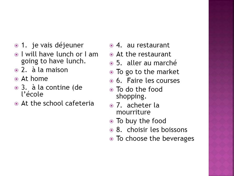  9.préparer le repas  To fix the meal  10. faire la cuisine  To do the cooking  11.